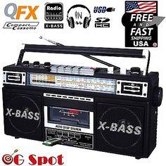 New Portable Boombox Audio Player Radio MP3 Cassette USB/SD Inputs