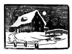 lino cut christmas scene - Google-Suche