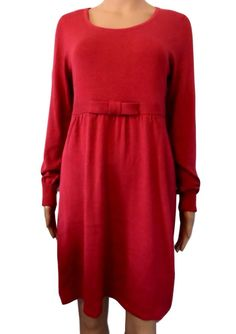 Knitted Maternity Jumper Dress Cranberry Red Long Sleeve with Bow