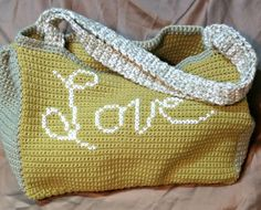 Love Crochet Tote Bag Love Cross stitched by ShaysCrochetCreation