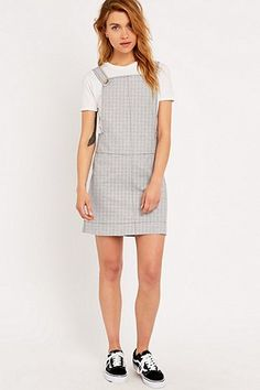 Cooperative by Urban Outfitters Square Neck Stripe Pinny Dress in Blue and White