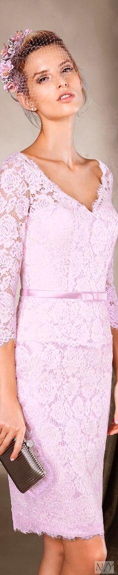 Pronovias > CAPRIS - Romantic lace dress with a v-neckline Parisian Wedding, Glamorous Wedding, Peplum Dress, Lace Dress, Romantic Lace, Everything Pink, Powder Pink, Pink Lace, Colorful Fashion