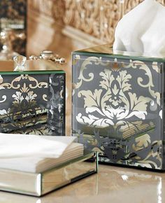 Bring a touch of the Victorian era into your home through the elegant and beautiful Victoria Damask Bath Accessories; a collection rich in timeless glamour.