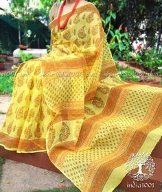 Elegant Kota Cotton Saree with Hand block printing