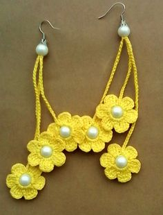 Yellow flower earrings, pearl district, made ​​of 100% cotton thread size length 11cm / 4.1