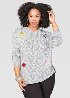 #FashionVault #ashley stewart #Women #Tops - Check this : Patched Hoodie for $39.5 usd