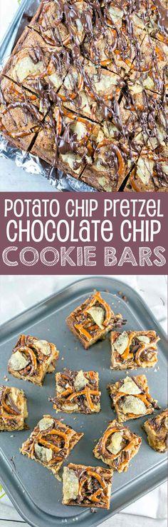 Potato Chip Pretzel Cookie Bars | Dessert | Party Food | Chocolate Chip Cookies | Bunsen Burner Bakery #TheNewFanFavorites #ad @snydershanover @capecodchips