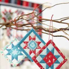 Free pattern for tiny FPP Christmas decorations - A Bit of Cheer - instructions are here: www. Quilted Christmas Ornaments, Fabric Ornaments, Christmas Fabric, Handmade Ornaments, Handmade Christmas, Christmas Decorations, Christmas Quilting, Dough Ornaments, Modern Christmas