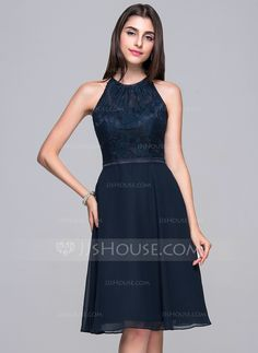 A-Line/Princess Scoop Neck Knee-Length Bow(s) Zipper Up Regular Straps Sleeveless No 2015 Dark Navy Spring Summer General Plus Chiffon Lace Cocktail Dress
