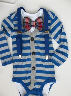 Baby Boy Cardigan Plaid Bowtie Onepiece with Suspenders for a Preppy Baby Boy on Etsy, $40.00