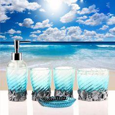5pcs Blue Ocean Resin Accessory Bath Bathroom Accessories Set Soap Dish  Holder