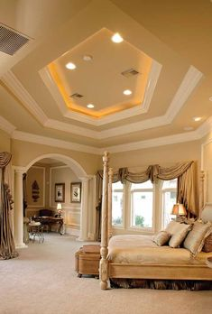 Glamourous Mediterranean bedroom suite with coffered ceiling....        ᘡղbᘠ