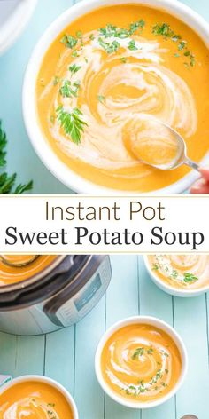 "A delicious, beautifully balanced Instant Pot Sweet Potato Soup! A family treasure - now healthier and easier but still ""PERFECT""! Freezable, too! Freezable Soups, Vegan Freezer Meals, Potato Soup Vegetarian, Vegetarian Recipes, Healthy Recipes, Sweet Potato Carrot Soup, Sweet Potato Recipes, Easy Meal Prep, Healthy Meal Prep"