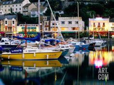 Lights and Yachts Reflected in Harbour at Dusk, Torquay, Torbay, England Photographic Print by David Tomlinson at Art.com