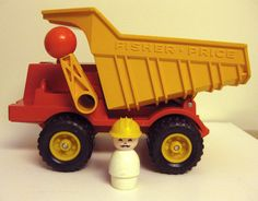 undefined Fisher Price Toys, Vintage Fisher Price, Lever Action, Preschool Toys, Dump Truck, Pretend Play, Little People, Old And New, Vintage Toys