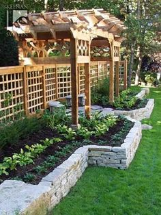 Stone Raised Garden Beds Creating Your Own Raised Garden Beds Stone Raised Garden Beds. Using raised garden beds has some advantages over other styles of gardening. Raised garden beds result in imp… Backyard Landscaping, Backyard Pergola, Pergola Kits, Pergola Ideas, Arbor Ideas, Landscaping Ideas, Elevated Garden Beds, Raised Garden Beds, Gardens