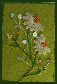 "** Green Felt Embroidered Flowers"" Postcard ATC Artist Trading Card @angéliquepatch"