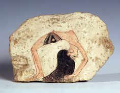 Fragment of a wall painting depicting an acrobatic dancer entertaining at court, New Kingdom, from Deir-El Medina (fresco), Egyptian 19th Dynasty (c.1297-1185 BC) / Egyptian Museum, Turin, Italy
