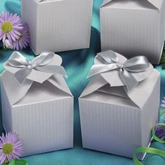 Perfectly Plain Collection Decorative Silver Favor Boxes