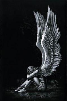 HD wallpaper: Alone, angel, black, fantasy, girl, light, white, wings, studio shot