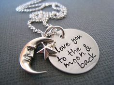 Personalized Necklace - Hand Stamped Sterling Silver Mommy Jewelry - Love You to the Moon and Back on Etsy, $42.00
