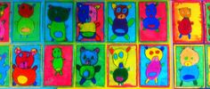 Teddy Bears: oil pastels and paint