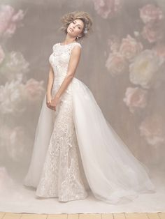 c921d0b344f Style  C463 This modern and elegant textured sheath pairs beautifully with  a contrasting tulle train