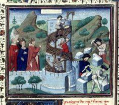 Cronique universelle (La Bouquechardiere) of Jehan de Courcy (Fr. 63, fol. 2v): Building of the Tower of Babel