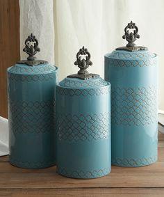 Blue canister set by American Atelier, reminds me of robin egg blue, 3 piece canister set for kitchen or bath Ceramic Canister Set, Kitchen Canister Sets, Coffee Canister, Kitchen Utensils, Joss And Main, Küchen Design, Design Ideas, Design Inspiration, Quatrefoil