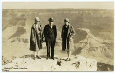 Eda, Frank and Dorothy Walters standing on the rim of the Grand Canyon, 1928. Image taken by photographer vendor located at the canyon. So close to the edge!