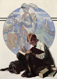 """Boy Reading Adventure Story, Norman Rockwell 1923 "" This painting is part of the George Lucas Collection. Norman Rockwell's work had a profound influence on Steven Spielberg and George Lucas,. Peintures Norman Rockwell, Norman Rockwell Art, Norman Rockwell Paintings, Art And Illustration, Illustrations, Reading Adventure, Adventure Stories, Inspiration Art, Oeuvre D'art"