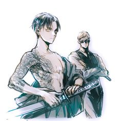 Shingeki no Kyojin Attack on Titan SnK AoT - Commander handsome: Erwin Smith & Rivaille: Levi