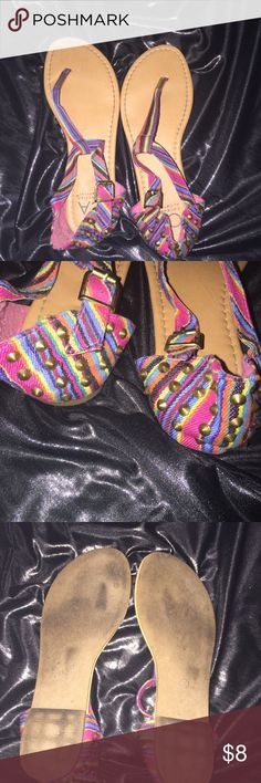 Multi color studded sandal Multi color studded sandal ; gently worn; good condition; gold studded design Collection by Carrini Shoes Sandals
