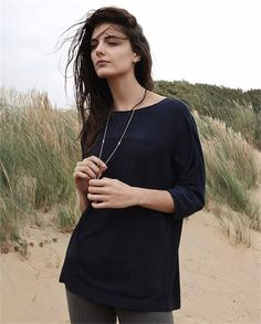 Poetry - Silk yoke detail jersey top - A fine-knit viscose and wool jersey top, tunic length with three-quarter length sleeves, finished with a silk, crêpe-de-chine panel across the shoulders. 85% viscose 15% wool. Trim 100% silk