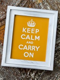 """8x10 STACKED Pine Distressed Rustic Picture Frame with Artwork """"Keep Calm Carry On"""" - White. $38.00, via Etsy."""