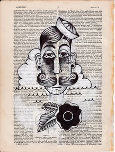 Items similar to Pg Sailor ORIGINAL Illustration with mixed media on vintage dictionary page. on Etsy Sailor, Mixed Media, The Originals, Unique Jewelry, Handmade Gifts, Creative, Illustration, Tattoo Ideas, How To Make