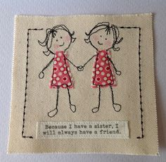 Handmade birthday card for sister with special quote Twin