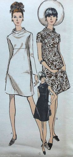 Vintage Dress Sewing Pattern*UNCUT*Vogue 7302*Half Size 14.5*1960's