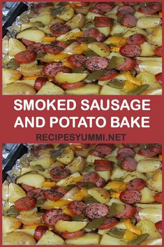 You'll Need: 1 package of sliced Eckrich skinless smoked sausage. - You'll Need: 1 package of sliced Eckrich skinless smoked sausage. Smoked Sausage And Potato Recipe, Sausage Potatoes And Peppers, Sausage And Potato Bake, Smoked Sausage Hash, Roasted Potatoes, Pork Recipes, Cooking Recipes, Healthy Recipes, Appetizers