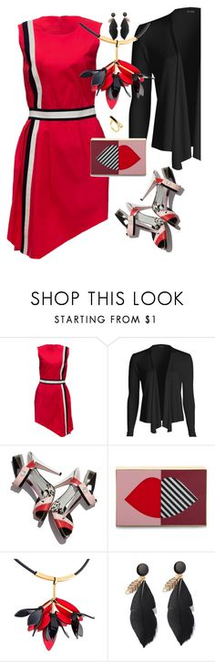 """""""Red Dress"""" by petalp ❤ liked on Polyvore featuring Lattori, Fendi, Lulu Guinness, Marni, Edge of Ember, black, red and dress"""