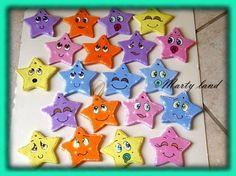 stelline bomboniere battesimo pasta di mais,colori acrilici modellati a mano,dipinti a mano