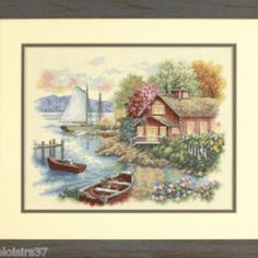 I checked out 	 Dimensions Kit Point de Croix Compté-Counted Cross Stitch Kit Paceful Lake House on Lish, € 36,90
