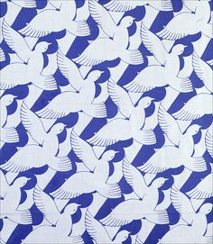 Doves furnishing fabric, by Calico Printers Association. England, 1935. EDITORIAL USE ONLY