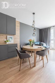 Best and Stylish Inspiring First Apartment Dining Room Ideas 5 Kitchen Room Design, Modern Kitchen Design, Living Room Kitchen, Dining Room Design, Living Room Modern, Kitchen Interior, Living Room Decor, Kitchen Grey, Living Rooms
