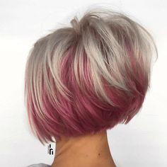 Red Hair Cuts, Short Hair Cuts, Feathered Hair Cut, Feathered Hairstyles, Really Short Hair, Corte Bob, Natural Wavy Hair, Haircut And Color, Fuchsia
