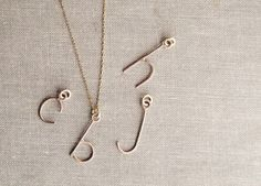 Custom Initial Monogram Letter Necklace in 14 Kt Goldfill with Chain. $48.00, via Etsy.