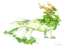 watercolor dragon 1 - the cute cabbage baby by sandara