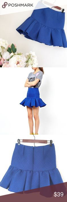 """ASOS Blue peplum Skirt Measures 14"""" across waist  17"""" long  100% Polyester   NO TRADES  Offers via offer feature only ! 👍🏻  💗💗IG: iluvshoes22 💗💗  🎈🎈🎈15% off bundles 🎈🎈🎈 ASOS Skirts"""