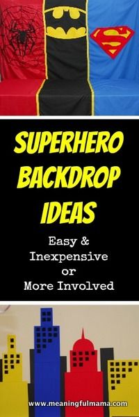 Let's Create this Backdrop for Our Super Hero Movie: How to Create a Superhero Backdrop - there's an easy way and a hard way, but either way there are full tutorials for both. Batman Party, Superhero Birthday Party, 4th Birthday Parties, Boy Birthday, Birthday Ideas, Batman Birthday, Create A Superhero, Superhero Classroom, Superhero School