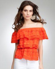 Love the bright orange and off the shoulder look. Snazzy top!